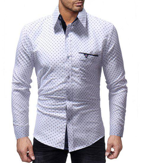 New Five-Pointed Star Print Men's Casual Slim Long-Sleeved Shirt - WHITE L
