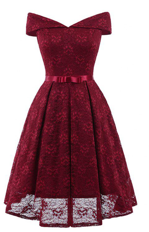 A Neck Bow Lace Sexy Dress - RED WINE 2XL