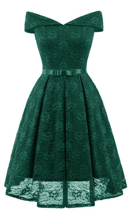 A Neck Bow Lace Sexy Dress - DEEP GREEN S