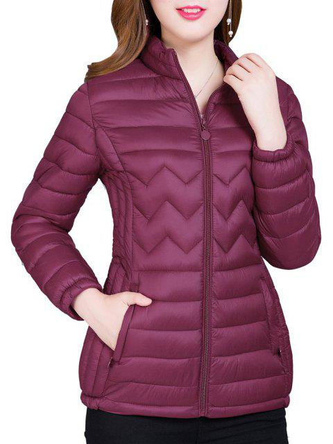 Short Women'S Coat Winter Light Quality Zipper Ladies Jackets - CHESTNUT 3XL