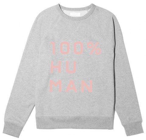 The Human Woman Unisex French Terry Sweatshirt in Large Prin - LIGHT GRAY L