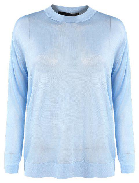 Perspective Lazy Long Sleeve Knit - CRYSTAL BLUE M