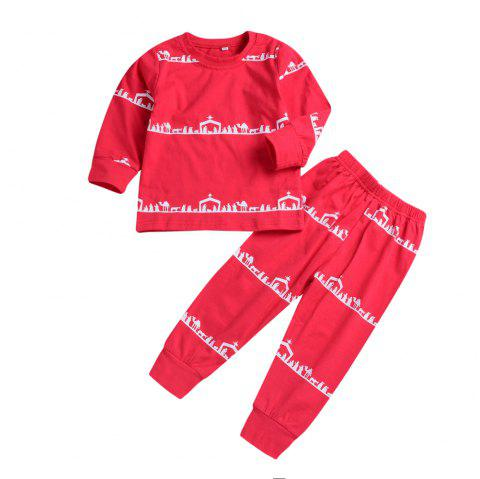 Christmas Camel Suit Long Sleeves - RED XL