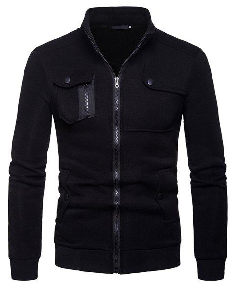 Men's Stand Collar Multi-Pocket European Style Sweater - BLACK S
