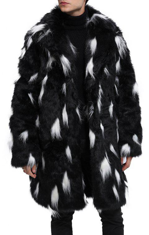 Men Faux Fur Coat Turndown Collar Two Tone Fluffy Coat Long Sleeve Overcoat - BLACK L