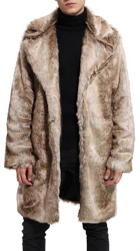 Men Faux Fur Coat Gradient Long Sleeve Oversized Collar Winter Coat - CAMEL BROWN 3XL