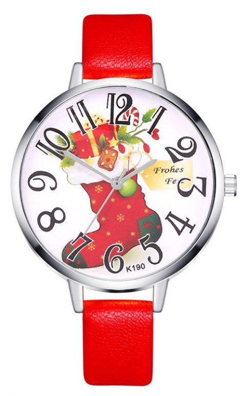 Women Watch Christmas Leather Small Band Analog Quartz Wrist Watch - RED