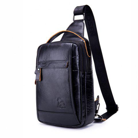 The First Layer of Leather Foreign Trade Oil Wax Leather Fashion Men's Bag - BLACK
