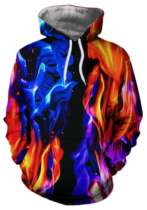 Autumn Winter Flame Pattern 3D Printing Men's Hoodie - multicolor A S
