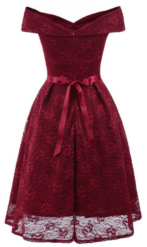 Lady'S Lace Dress with Bow Tie - RED WINE S