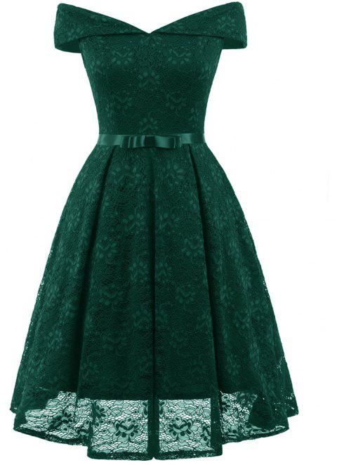 Lady'S Lace Dress with Bow Tie - DEEP GREEN L