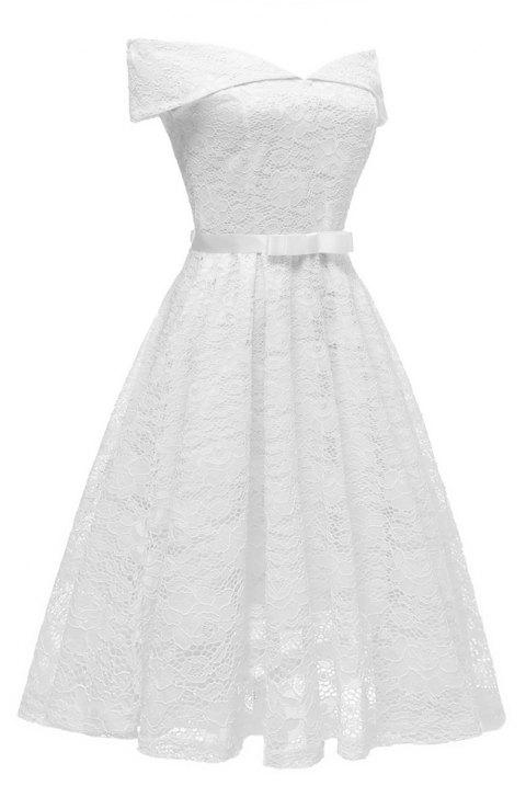 Lady'S Lace Dress with Bow Tie - WHITE XL