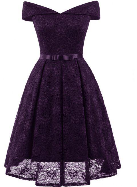 Lady'S Lace Dress with Bow Tie - PURPLE L