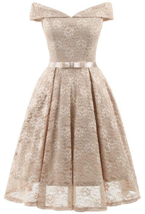 Lady'S Lace Dress with Bow Tie - APRICOT L