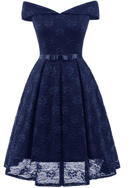 Lady'S Lace Dress with Bow Tie - CADETBLUE L