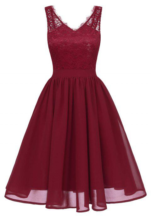 Lady V Collar Lace Sexy Dress - RED WINE XL
