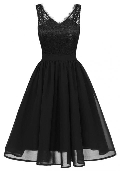 Lady V Collar Lace Sexy Dress - BLACK 2XL