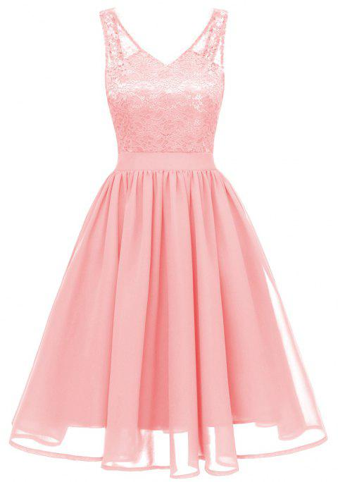 Lady V Collar Lace Sexy Dress - PINK M