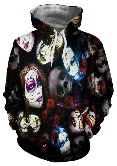 New Fashion Strange 3D Printed Casual Hoodie - multicolor XL