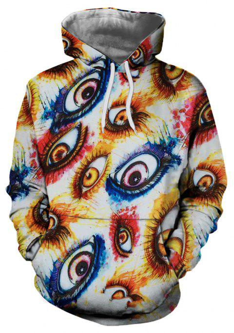 New Fashion Casual Strange Eye 3D Printed Hoodie - multicolor L