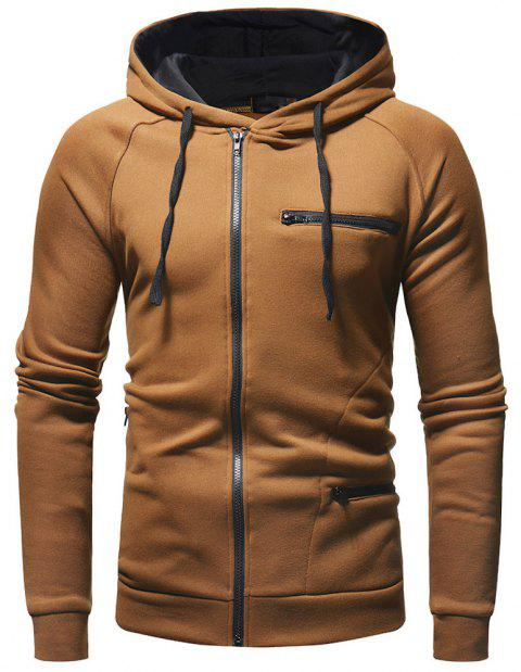 Zipper Decoration Men's Casual Fashion Wild Hoodie Sweater - BROWN 2XL