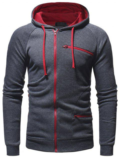 Zipper Decoration Men's Casual Fashion Wild Hoodie Sweater - GRAY L