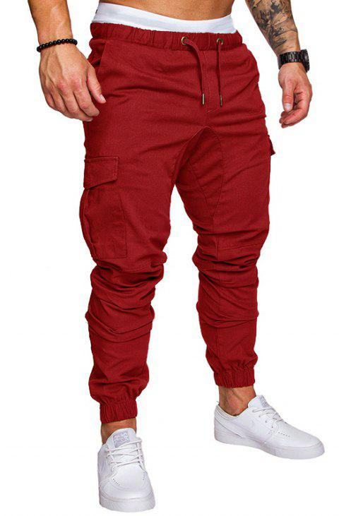 Casual Elastic Sports Trousers Men's Trousers - RED WINE L