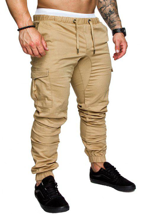 Casual Elastic Sports Trousers Men's Trousers - LIGHT KHAKI 4XL