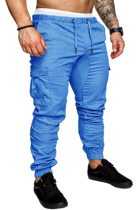 Casual Elastic Sports Trousers Men's Trousers - SKY BLUE 3XL
