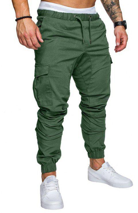 Casual Elastic Sports Trousers Men's Trousers - DEEP GREEN L