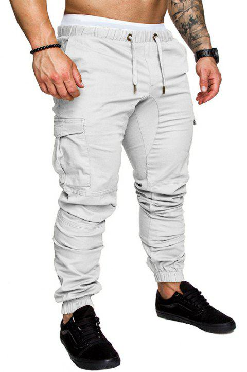 Casual Elastic Sports Trousers Men's Trousers - WHITE M