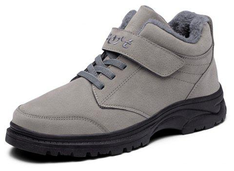 Winter High Help Plus Cotton Anti-Slip Middle-Aged Leisure Sports Walking Shoes - GRAY EU 37