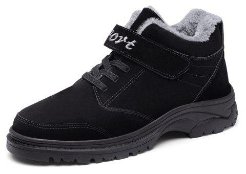 Winter High Help Plus Cotton Anti-Slip Middle-Aged Leisure Sports Walking Shoes - BLACK EU 44