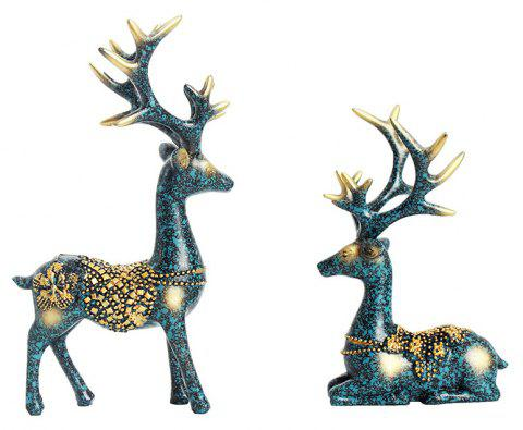 2PCS Resin Elk Figurines Furnishing Articles Decoration Gifts Crafts - multicolor 1 PAIR