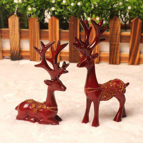2PCS Resin Figurines Boutique Plum Flower Deer Ornaments - RED WINE 1 PAIR