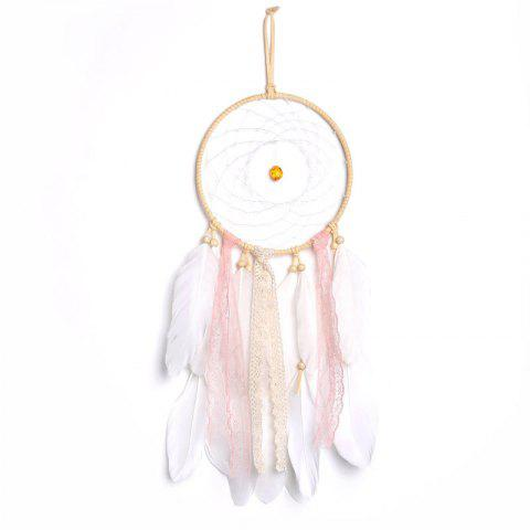 Wind Chimes Dreamcatcher Natural Feathers Wall Hanging Decor - WHITE 45*16CM