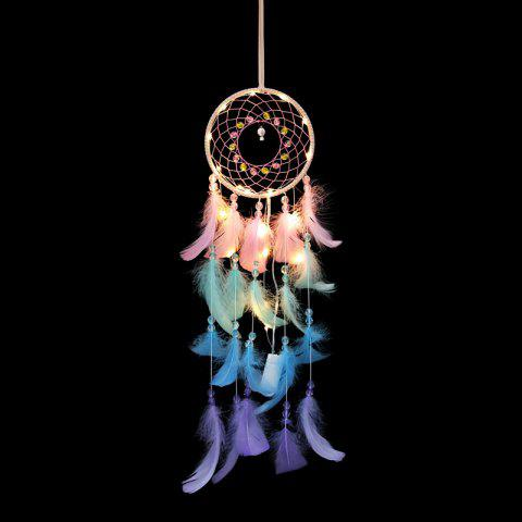 Colorful Dreamcatcher Wind Chimes Indian Style Feather Pendant - multicolor 55*13CM