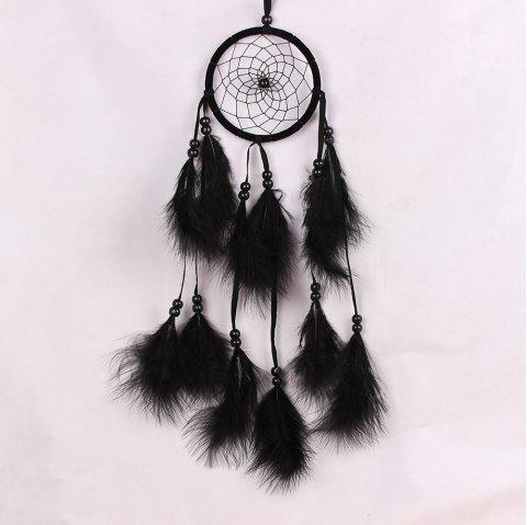 Feather Crafts Dream Wind Chimes Handmade Dreamcatcher Net for Wall - BLACK 55*11CM