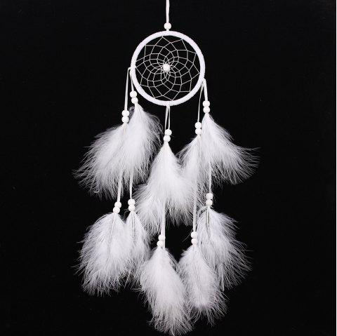 Feather Crafts Dream Wind Chimes Handmade Dreamcatcher Net for Wall - WHITE 55*11CM