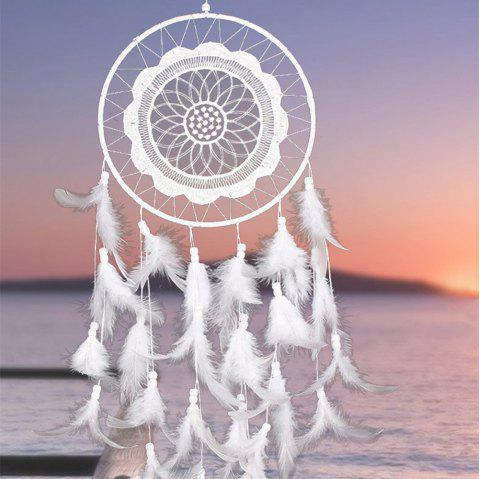 White Lace Dreamcatcher Wind Chimes Indian Style Feather Pendant - WHITE 55*20CM