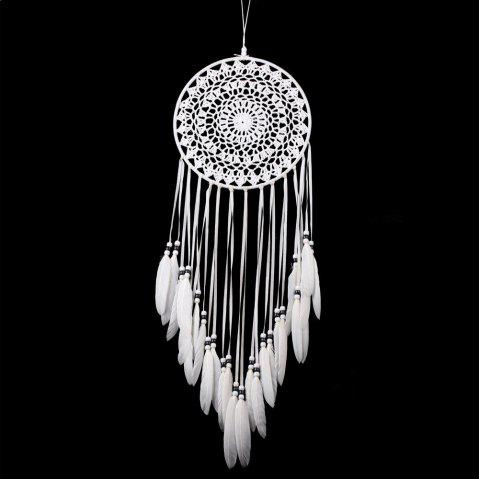 Mascotte ornement à suspendre Indian Dream Catcher en dentelle blanche à plumes - Blanc 80*20CM