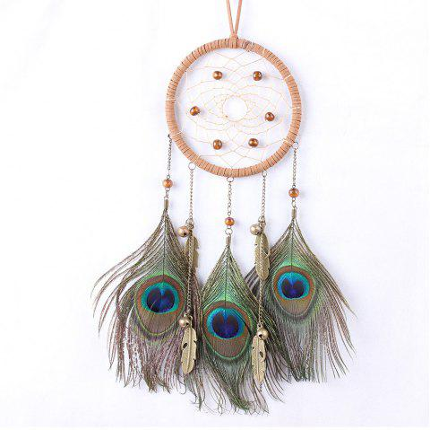 Dreamcatcher Wind Chimes Indian Style Natural Peacock Feather Pendant - multicolor 40*11CM
