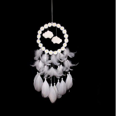Plumes à la main Dream Catcher Wind Chimes Décoration Tenture murale - Blanc 57*15CM