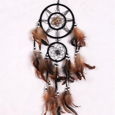 Vintage Home Decoration Retro Feather Dream Catcher Circular Wall Hang - BROWN 70*16CM