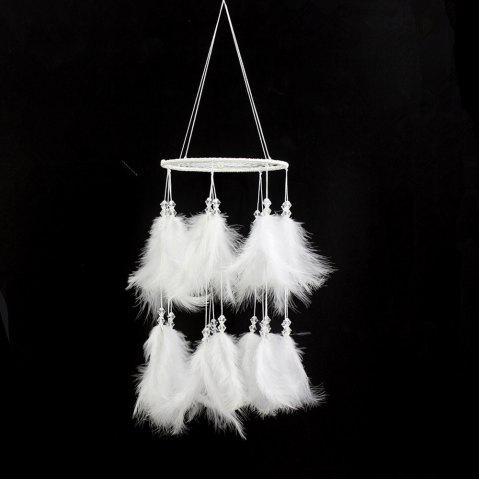 Hanging Feather Pearl Dreamcatcher Wind Chimes Pendant Dream Catcher Gift - WHITE 58*15CM