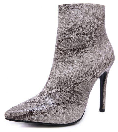 Boots Pointy Boots Sexy Boots Snakeskin Boots - BLACK EU 39