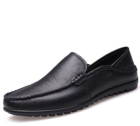 Soft Bottom Dou Men Leisure Shoes and Cotton Flat Pedal Man Driving Shoes - BLACK EU 42