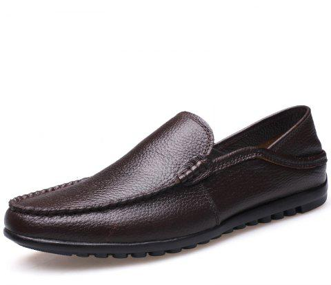 Soft Bottom Dou Men Leisure Shoes and Cotton Flat Pedal Man Driving Shoes - DEEP BROWN EU 44