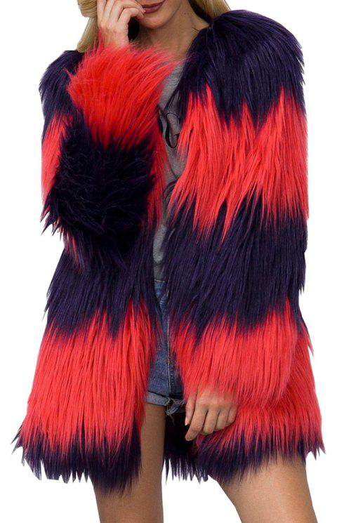 Women Colorful Faux Fur Coat Long Sleeve Round Neck Two Tone Green Winter Coat - ROSSO RED L