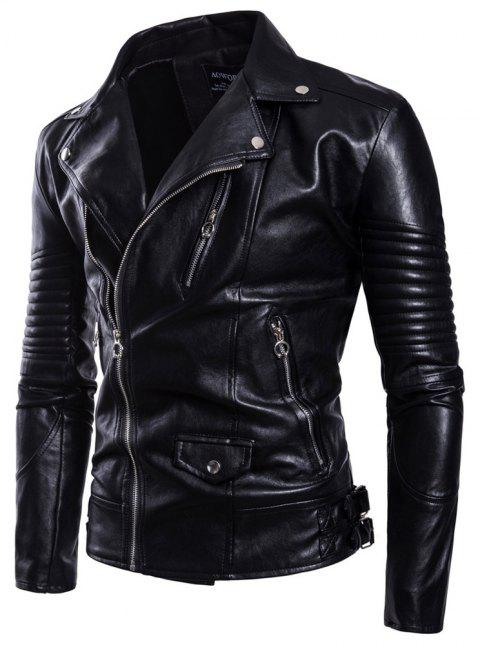 Man Leather Clothing Jacket Fashion Thickened Lapel Black Single Color Coat - Noir 2XL